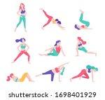 women fitness exercise posture... | Shutterstock .eps vector #1698401929