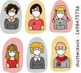 set from avatar coronavirus....   Shutterstock .eps vector #1698475756
