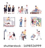 university students flat color... | Shutterstock .eps vector #1698526999