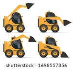 skid steer loader view from... | Shutterstock .eps vector #1698557356