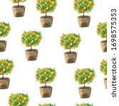 Seamless Pattern Of Orange Tree ...