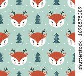 cute deer seamless pattern....   Shutterstock .eps vector #1698575389