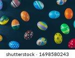 top view easter eggs on black...   Shutterstock . vector #1698580243