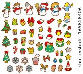 christmas sticker and vector... | Shutterstock . vector #169858406