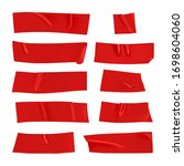 red duct tape set. realistic... | Shutterstock .eps vector #1698604060