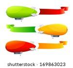 retro dirigible and flags...   Shutterstock . vector #169863023