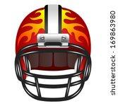 football helmet with fire