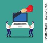 like concept   two men carry... | Shutterstock .eps vector #1698643756