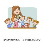 paediatric doctor with her... | Shutterstock .eps vector #1698660199