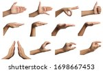 Small photo of Isolated hand gestures and signals from Asian female child hand, multiple options. Includes clipping path.