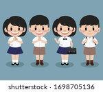 thai student. school uniform in ... | Shutterstock .eps vector #1698705136