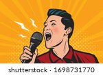 man screaming loudly into...   Shutterstock .eps vector #1698731770