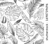 hand drawn tropical leaves... | Shutterstock .eps vector #1698739696