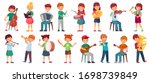 children orchestra play music.... | Shutterstock .eps vector #1698739849