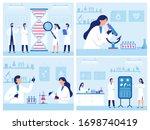 scientists work in laboratory.... | Shutterstock .eps vector #1698740419