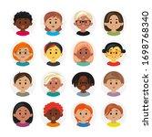 multinational people profiles... | Shutterstock .eps vector #1698768340