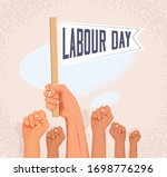 group of raised fists and hand... | Shutterstock .eps vector #1698776296