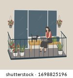 lady work at the computer from... | Shutterstock .eps vector #1698825196