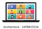 9 panels young man   woman... | Shutterstock .eps vector #1698825226