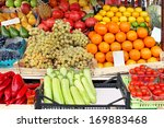 market stall with fresh fruits... | Shutterstock . vector #169883468