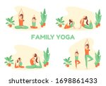 mother and daughter do yoga.... | Shutterstock .eps vector #1698861433