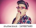 portrait of shocked pin up girl ... | Shutterstock . vector #169887680