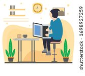 young man working at home... | Shutterstock .eps vector #1698927259