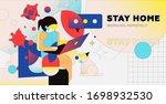 stay home trendy illustration... | Shutterstock .eps vector #1698932530