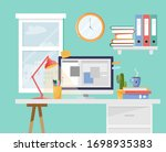 workplace illustration with... | Shutterstock .eps vector #1698935383