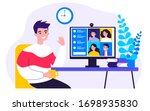worker using computer for... | Shutterstock .eps vector #1698935830