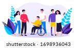 volunteers helping disabled... | Shutterstock .eps vector #1698936043