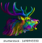 deer. abstract  neon  multi...   Shutterstock .eps vector #1698945550