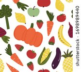 fun hand drawn fruits and... | Shutterstock .eps vector #1698989440