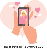 hand holding smartphone with... | Shutterstock .eps vector #1698995926