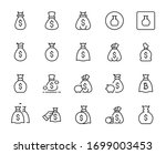 line money bag icon set...