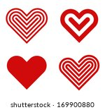 Heart shape vector logo design template collection. Happy Valentine's day! Love & Cardio elements icon.