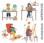 drawing and gardening  playing...   Shutterstock .eps vector #1699054150