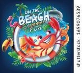 on the beach summer fun...   Shutterstock .eps vector #1699076539