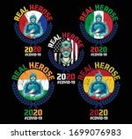 real heroes covid 19....   Shutterstock .eps vector #1699076983