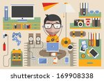 vector character  technology... | Shutterstock .eps vector #169908338