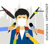 reporters interview a man in a... | Shutterstock .eps vector #1699103629