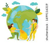 ecology concept. people take... | Shutterstock .eps vector #1699116319