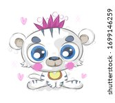 little white tiger hand drawing   Shutterstock .eps vector #1699146259