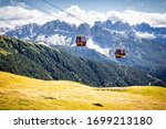 Two Cable Car Aerial Tram Lift...