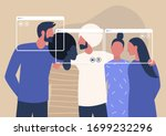 group video call  virtual... | Shutterstock .eps vector #1699232296