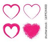 set of hand drawn grunge hearts ... | Shutterstock .eps vector #169924400
