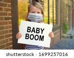 Young Child Girl With Mask At...