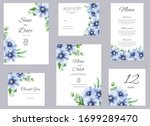 watercolor bkue anemone and...   Shutterstock . vector #1699289470
