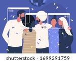 online party  social distancing ... | Shutterstock .eps vector #1699291759