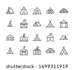 Icon set of tent. Editable vector pictograms isolated on a white background. Trendy outline symbols for mobile apps and website design. Premium pack of icons in trendy line style.
